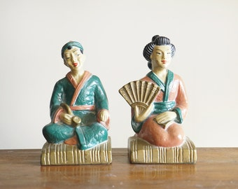 Vintage Japanese Couple Plaster Bookends