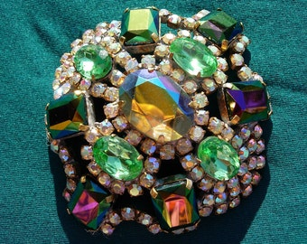 Vintage Pin or Brooch-- Emerald Green and Aurora Crystals