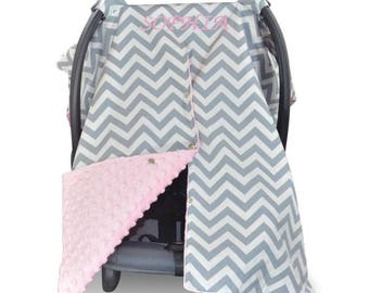Baby Car Seat Canopy Baby Car Seat Cover Baby Pink Minky Blanket Personalized blanket Custom Canopy Baby Shower Gift Baby Girl Gift