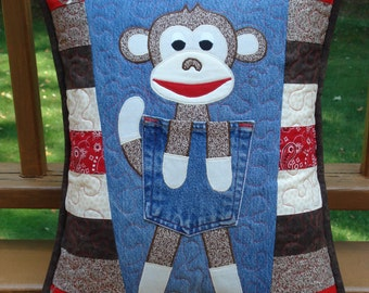 """Pattern for """"Clever Monkey""""  Quilted Recycled Denim Jean Pillow"""