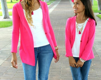 Pink, summer, sweater, mommy and me, mother daughter, matching outfits,  cardigans, cute, womens gift, mothers day, gifts for her, mom, gift