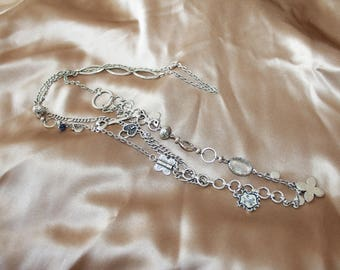 Vintage triple chain long silver crystal accent necklace