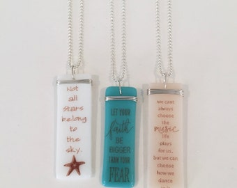 Inspirational gift, Custom quotes, personalized, friendship, encouragement, hope, faith Story Pendants-fused glass by Designs by Leslie