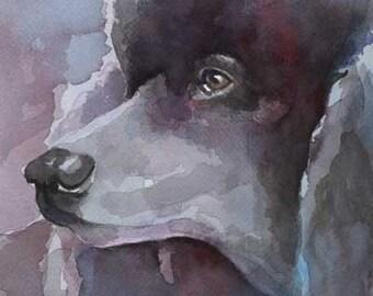 Poodle Art Print of Original Watercolor Painting - 8x10