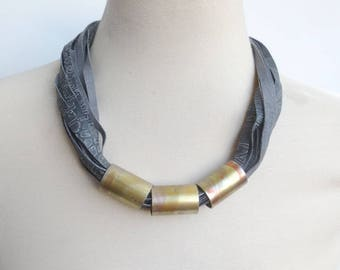 Leather Bib Necklace Leather and Copper Statement Necklace Unique Handmade Leather Jewellery for Women Gift Idea