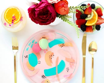 Abstract Art Glass Dinner Plates - food safe and dishwasher safe hand painted
