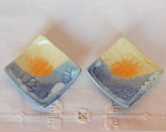 Pair of Ring Dishes, Handmade Porcelain Pottery Square Tiny Plates, Teabag Holders, Wedding Favors, Jewelry Trays, Blue, Orange, Sunrise