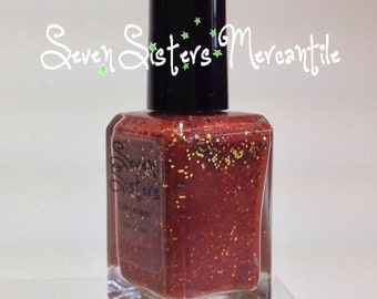 Walk The Plank - Seven Sisters Nail Lacquer  - 15 mL 0.5 Fl Oz. - Neverland Collection - Mahogany Shimmer w Gold & Black Holo Glitter Polish