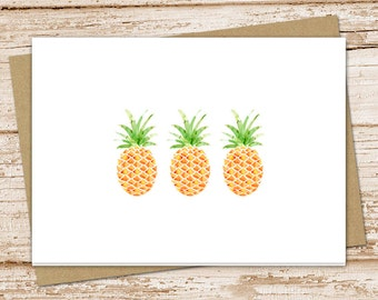 stationery set . pineapple cards . greeting cards note carnotecards . watercolor pineapples folded stationary . blank cards . set of 6