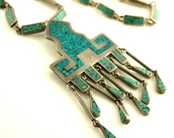 Turquoise inlaid Necklace - Sterling Silver - Mexico - Vintage