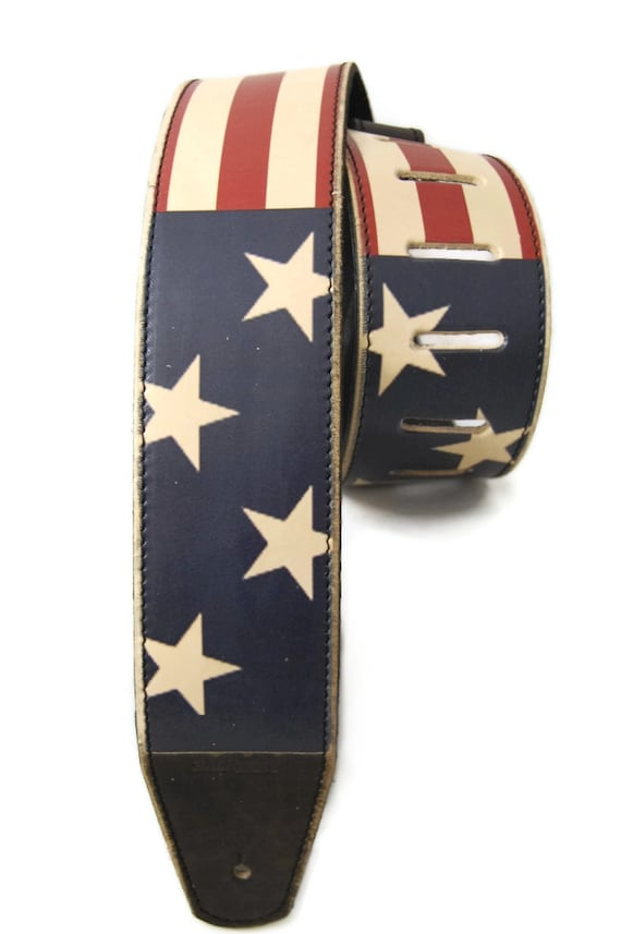 items similar to guitar strap usa flag vintage styled leather guitar strap for men and women. Black Bedroom Furniture Sets. Home Design Ideas