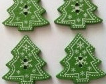 15 x Christmas xmas trees wooden 2 hole buttons green
