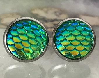 Green Mermaid Earrings |  12mm Mermaid Studs | Stainless Steel  | Dragon Scale | Fish Scale Studs | Mermaid Scale Earrings | Dragon Earring
