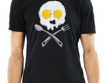 Le petit déjeuner oeuf Skull comédie Mens T-Shirt tee-shirt noir de toutes les tailles