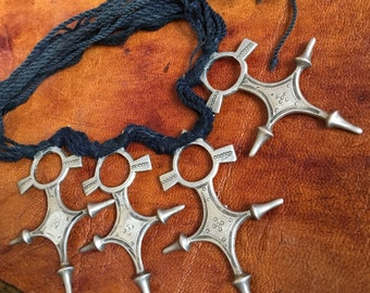 Traditional Tuareg Jewelry,  4 x SILVER Tuareg Compass Crosses with Black Cord