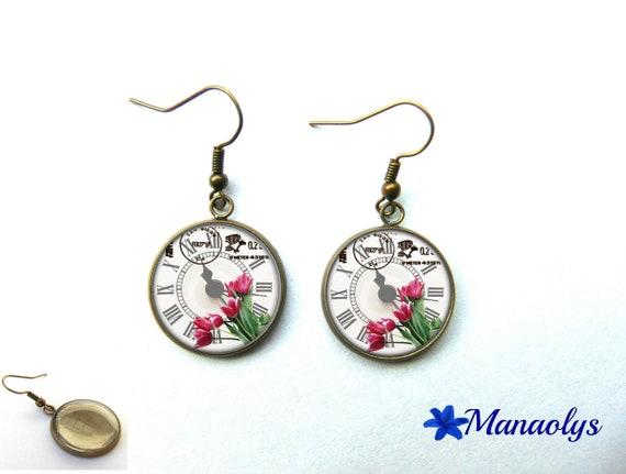 Earrings bronze color, retro, vintage, clock and tulips 949 glass cabochons
