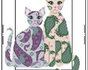 Needlepoint or Cross Stitch Pattern Design Chart - Paisley Cats