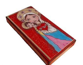Immaculate Heart of Mary with Baby -  Giclee print mounted on Wood (3 x 6 inches) Folk Art  by FLOR LARIOS