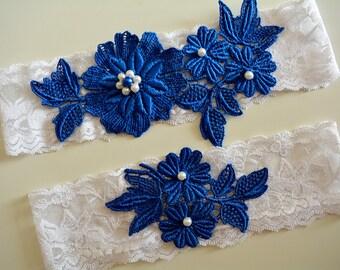 Garter, Royal Blue Garter, Bridal Garter Blue, Wedding Garter Set,  Bridal Garter, Blue Lace Garter, Wedding Blue Garter, Lace Garter Blue