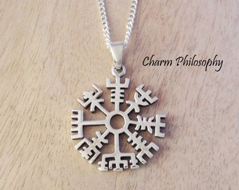 Viking Vegvisir Compass Necklace - 925 Sterling Silver Jewelry - Womens and Mens Necklace