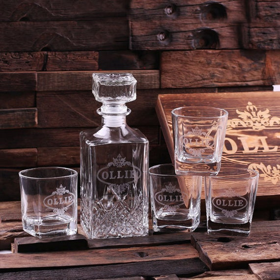 Personalized Engraved Etched Scotch Whiskey Decanter Bottle