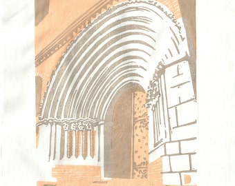 Romanesque portal in Rabastens - hand pulled moku hanga color woodblock print