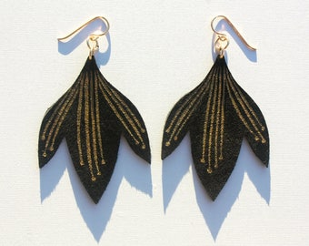 Hand Painted Leather Earrings - Bali Bloom - Black with 14k Gold-Fill