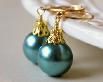 Teal Glass Pearl Earrings, Christmas Balls, Gold Plated Lever Earwires, Fun Holiday Jewelry