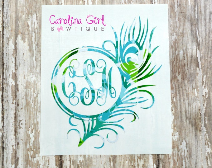 Lilly Pulitzer Inspired Monogram Feather Decal ~ Yeti Decal ~ Lilly Car Decal ~ Lilly Decal ~ Lilly Sticker