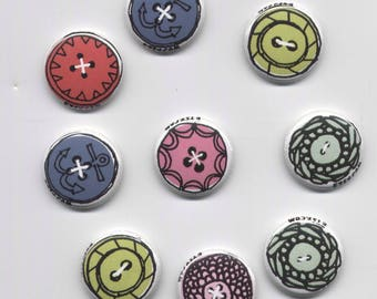 Whimsical Button Buttons - 9 1-Inch Pinback Buttons by Etsy