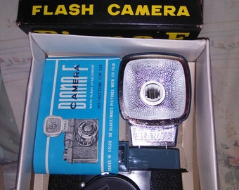 Vintage Dana-F Model 162 Flash Camera In Original Box with Flash Strap and Lens Cap unused