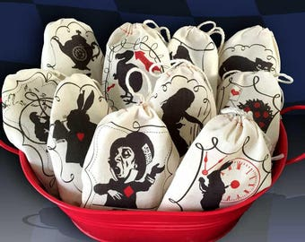 Alice in Wonderland Favor Bags | Bold Graphic Modern Design Black Red | 3x5 4x6 6x8 | Mad Hatter Tea Party Wedding Shower Birthday SET of 20