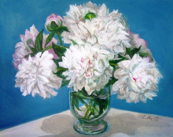 Peonies in Blue, 11x14 acrylic still life