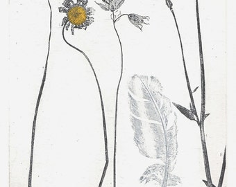 Feather and Flowers, original etching.