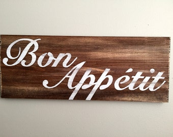 Perfect Bon Appetit Sign   Kitchen Decor   Kitchen Sign   Rustic Wall Decor    Farmhouse Decor