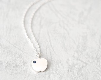 Sapphire Apple Necklace 925 Sterling Silver September Birthstone