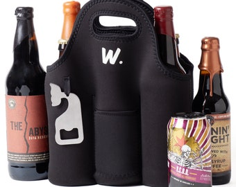 Insulated 6 Pack Beer Bottle Carrier with Opener, Thick Neoprene Bag. Keeps Cold and Protected