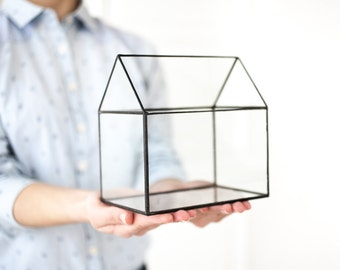 Terrarium glass house - Glass terrarium - Home decor - Planter for indoor gardening - Succulent terrarium - Handmade glass terrarium (M12)