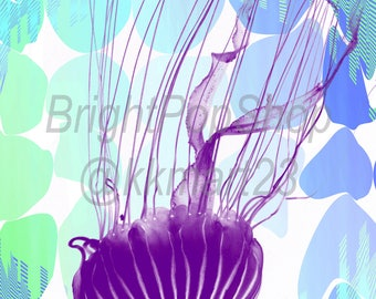 Neon Jellyfish Instant Download, Digital Art Print 10x15 & 20x30