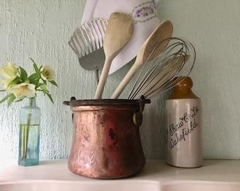 Antique French Copper utensil pot, cauldron, cast iron handle, plant holder, farmhouse kitchen