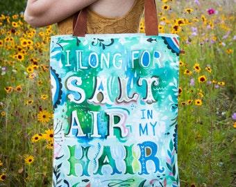 Salt Air -  Handmade Cotton/Linen Tote Bag