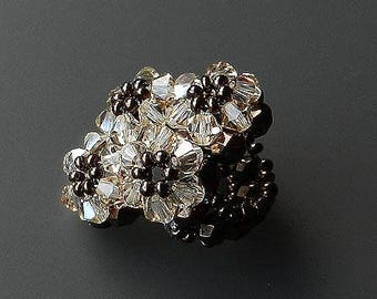 Ring Handmade From Glass Beads Lovely Vintage Jewelry