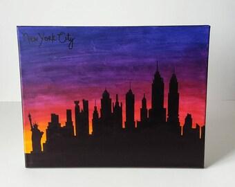 New York City NYC Skyline Sunset Painting 11x14