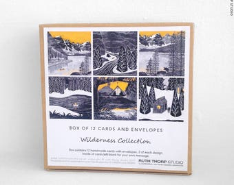 Box of 12 Cards - Wilderness Collection / cards / notelets / adventure / explore / illustration / bw / yellow / travel / landscape / gift