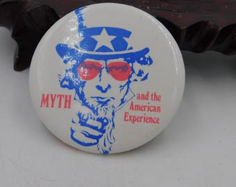 Vintage 1970's Uncle Sam Pin Pinback Button From The Book Myth and The American Experience dr13