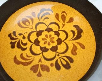 Vintage PLATTER Brown Floral Flower Platter Butterscotch Brown Stoneware