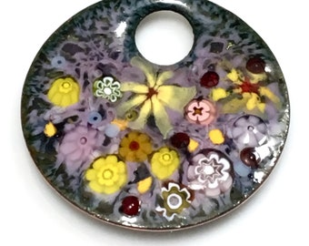 Impressionistic Flower Garden in Pastel Purples & Many Yellows, Vitreous Enamel Kiln Fired onto Handmade Copper Pendant, Gift Ready to Mail