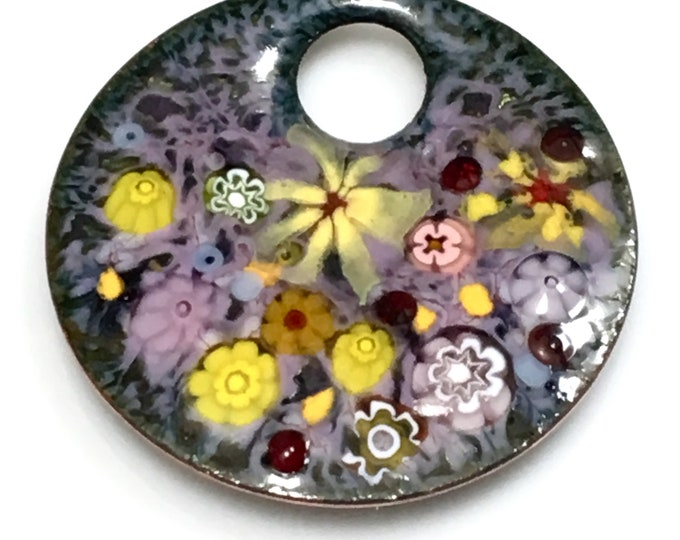 Featured listing image: Impressionistic Flower Garden in Pastel Purples & Many Yellows, Vitreous Enamel Kiln Fired onto Handmade Copper Pendant, Gift Ready to Mail