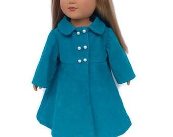 18 Inch Doll Coat, Aqua Blue Doll Coat, Corduroy Doll Coat, Winter Doll Clothes, 18 Inch Doll Clothes
