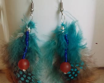 Blue and Brown Feather Earrings